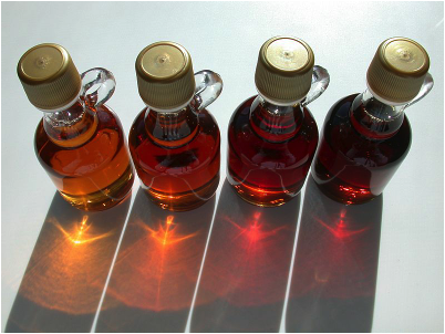 This is a photo of the varioue grades of Maple Syrup.