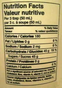 Photo of maple syrup nutritional information.