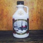 This photo displays our 1 litre Traditional Pure Maple Syrup (Brown Plastic Bottle)